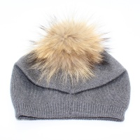 cea9e51a5f4 knitted-cashmere-blend-pompom-soft-beanie-hat-grey-